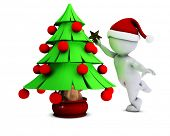 3D Render of Morph Man with christmas tree