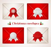 Set of Christmas envelope icons with red and white wax seals.