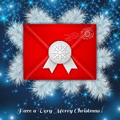 Christmas red envelope with white wax seal.