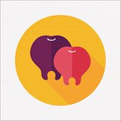 Tooth Flat Icon With Long Shadow