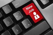 Keyboard Red Button New Job Employee