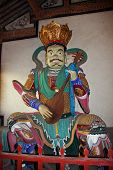 Colorful Statue Of Heavenly King At  Chinese Buddhist Temple, Oil Paint Stylization