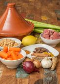 Ingredients For A Moroccan Dish With Lamb And Vegetables