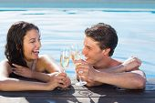 Cheerful young couple toasting champagne in swimming pool on a sunny day