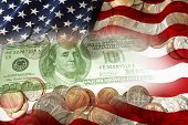 American flag and currency composite