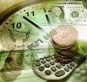 American currency, clock and calculator