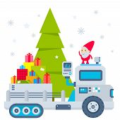 Vector Illustration Of The Gnome Operates The Machine, Which Carries A Christmas Tree And Gifts.