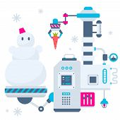 Vector Christmas Illustration Of The Machines That Make A Snowman And Bear Him A Carrot To Make A No