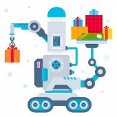 Vector Illustration Of The Machine That Puts One Present And Holds Many Gift Boxes.