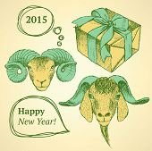 Sketch New Year Ram And Present In Vintage Style