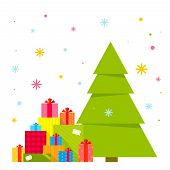 Vector Illustration Of The Christmas Tree And Piles Of Presents Under It On A Background Of Colorful