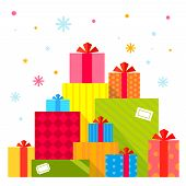 Vector Christmas Illustration Of The Piles Of Presents On White Background With Colorful Snowflakes.