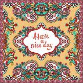 decorative pattern of ukrainian ethnic carpet design with place
