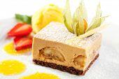 Banana and Chocolate Tiramisu with Mango Ice Cream and Strawberries
