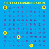 100 flat communication, phone, connection icons, signs, symbols, illustrations, vectors set