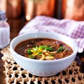 image of scallion  - bowl of chili with scallions and grated cheese - JPG
