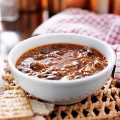 bowl of chili cooling on table