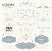 Vintage Vector Design Elements Collection. Retro Style Typographic Labels, Frames, Tags, Stamps and