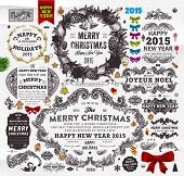 Christmas Decoration Collection   Set of Calligraphic and Typographic Elements, Frames, Vintage Labels. Ribbons, Stickers, Garland, Gifts, Wreath, Santa Claus, Xmas Tree and Balls. Holiday Design
