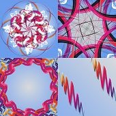 Set of abstract rainbow colored backgrounds with swirl. vector