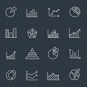 Thin line icons of  business charts