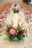 Beautiful flowers on table in wedding day - Shallow depth of field