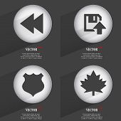 Set of one-color web buttons flat design. Simple circle sticker internet sign gray background. web-d