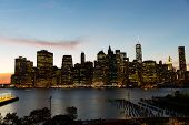 new york city with urban skyscrapers at sunset