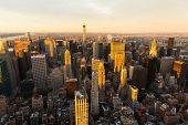 NYC skyline at sunset, USA