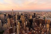 NYC with urban skyscrapers at sunset, USA