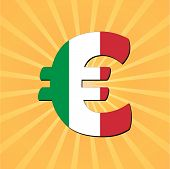 Italian Euro flag symbol with sunburst vector illustration