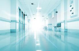 stock photo of hospital  - Rays of light in the corridor of the hospital - JPG