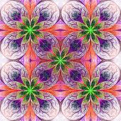 Pattern From Fractal Flowers In Pink, Green And Dark Blue
