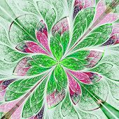Symmetrical Flower Pattern In Stained-glass Window Style. Green And Purple Palette