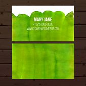 Two sided business card template with bright paint background on wood
