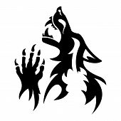 Vector werewolf stencil. Dark tattoo.