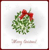 pic of mistletoe  - Merry Christmas card with illustration of mistletoe - JPG