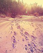 Footprints On Sand, Retro Stylized Nature Background.