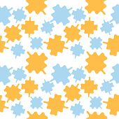 Square Pattern In Blue And Orange Colors