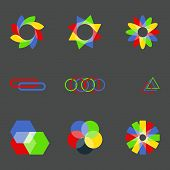 Multi-colored logos