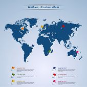 World Map Of Business Offices Template