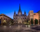 Cathedral Of The Holy Cross And Saint Eulalia In The Morning, Barcelona, Catalonia, Spain