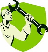 Mechanic Wielding Spanner Wrench Shield Retro