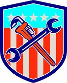 Spanner Monkey Wrench Crossed Usa Flag Shield
