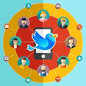 Social network flat illustration with avatars earth mobile