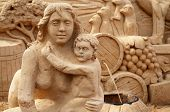 Sculptures made of sand.