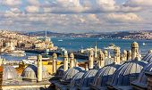 foto of rabies  - Vew of the Bosphorus strait from the Sueymaniye Mosque in Istanbul - JPG