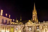 View of Saint Epvre basilica in Nancy at night