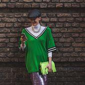 Beautiful Girl Outside Alberta Ferretti Fashion Show Building For Milan Women's Fashion Week 2015