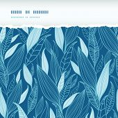 Blue Bamboo Leaves Horizontal Torn Seamless Pattern Background